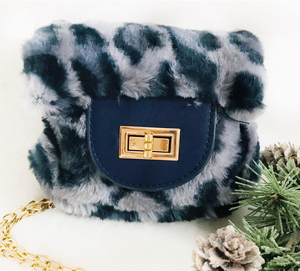 Blue Leopard Faux Fur Purse
