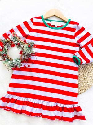 Red Stripe Christmas Night Gown