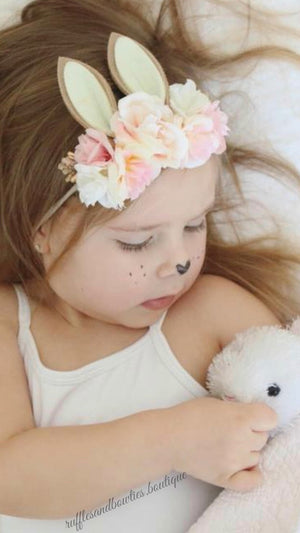Girls Sweetest Bunny Ear Pastel Pink Easter Floral Headband