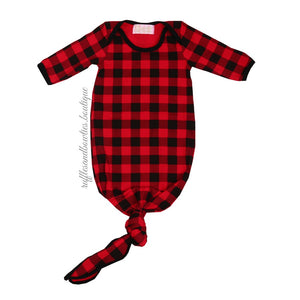 Baby Buffalo Plaid Boy or Girl Knotted Sleep Sack - Christmas