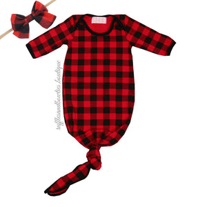 963446085 Baby Buffalo Plaid Boy or Girl Knotted Sleep Sack - Christmas