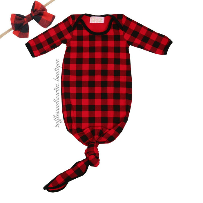 ***EXCLUSIVE*** Baby Buffalo Plaid Boy or Girl Knotted Sleep Sack - Christmas