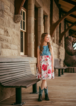 Kids girls Denim and Floral Western Dress