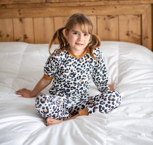 2 Pc Girls Tan Leopard Pajama Set