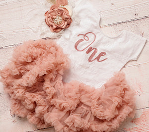 Kryssi Kouture Exclusive First Birthday White Short Sleeve Lace Leo  Set with Rose Gold One - Complete Outfits Available
