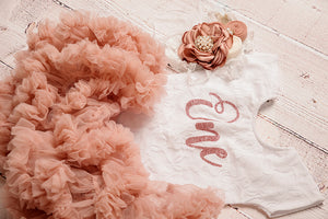 Kryssi Kouture Exclusive First Birthday White Short Sleeve Lace Leo Sets with Rose Gold One