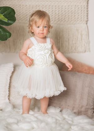Kryssi Kouture Ivory Rosette Tulle Dress