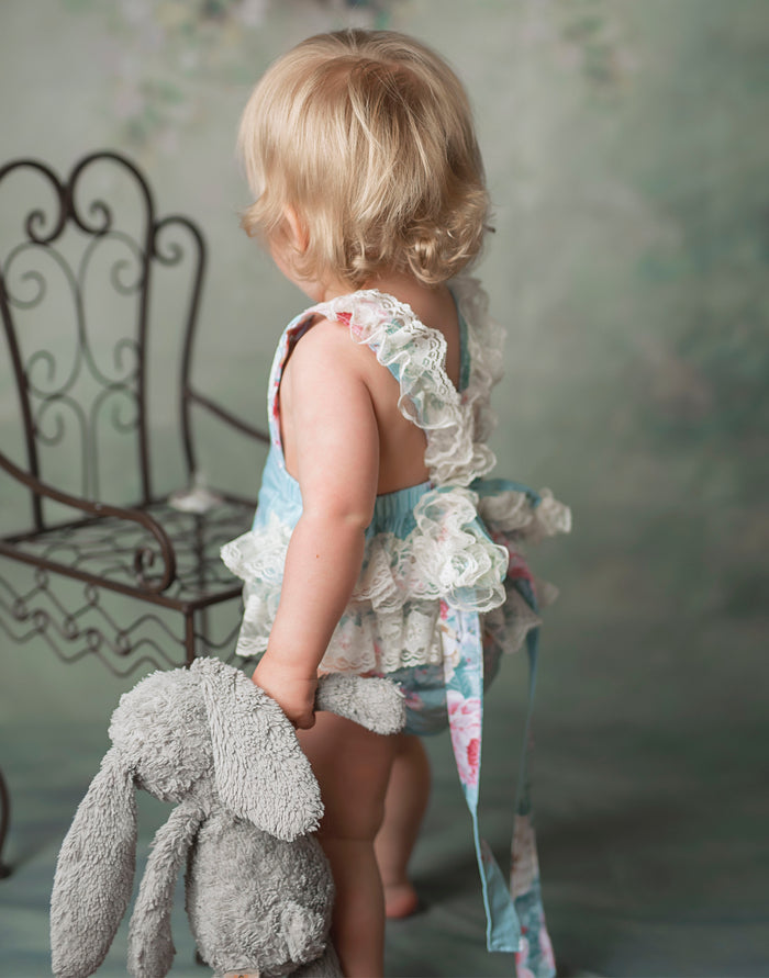 Kryssi Kouture Exclusive Girls Anastasia Ruffled Lace and Vintage Floral Romper