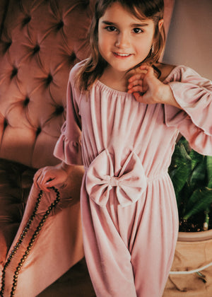Farrah Dusty Rose Velvet Bell Bottom Bow Jumpsuit