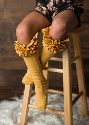 Mustard Ruffle Knee Highs