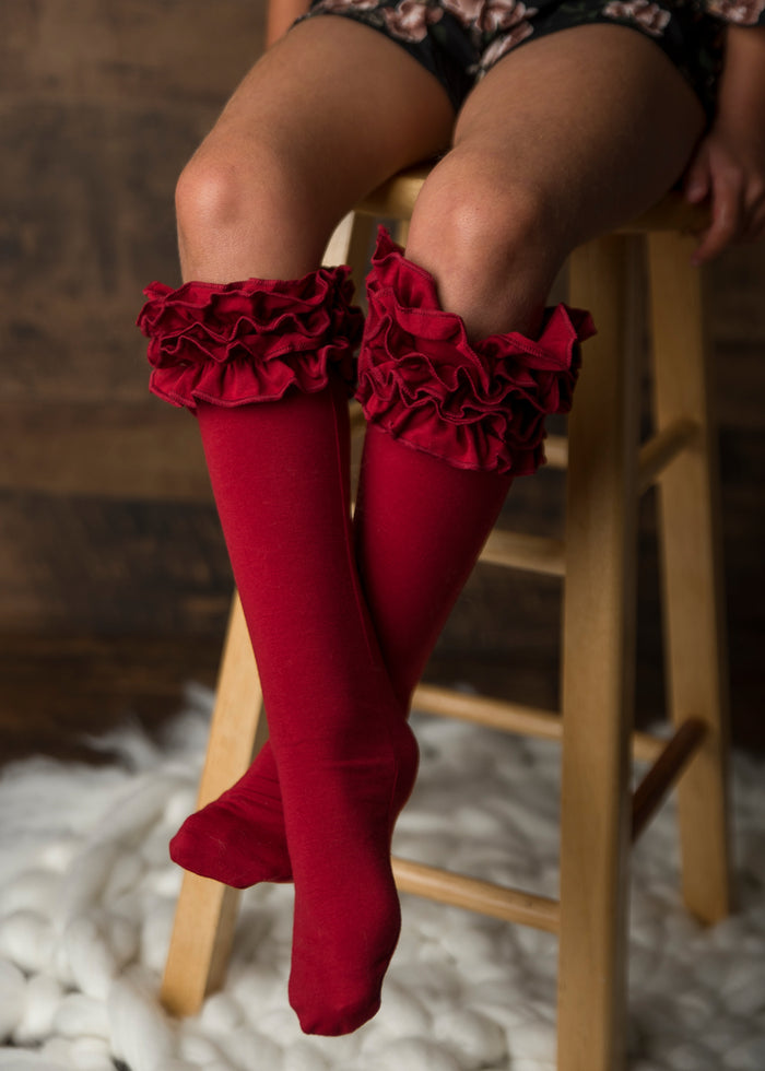 Burgundy Ruffle Knee Highs
