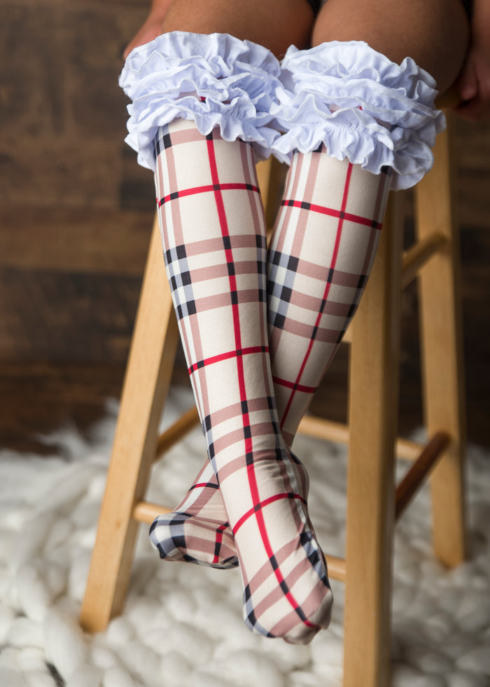 Plaid Ruffle Knee Highs