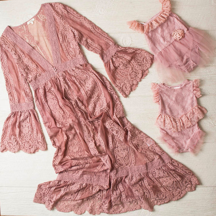 Mommy & Me - Ladies Dusty Rose Long Lace Duster Cardigan