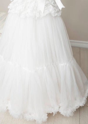 White Tulle Full Flower Girl Dress