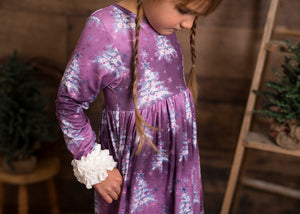 Purple Christmas Trees Long Ruffles Sleeve Tunic/Dress