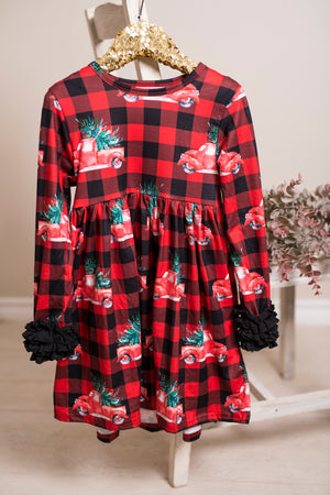 Christmas Truck Long Ruffles Sleeve Tunic/Dress