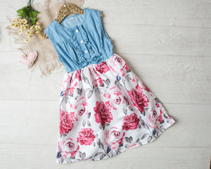 Rosalee Floral Denim Dress