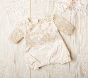 Kryssi Kouture Girls Anna Oatmeal & Gold Lace Romper