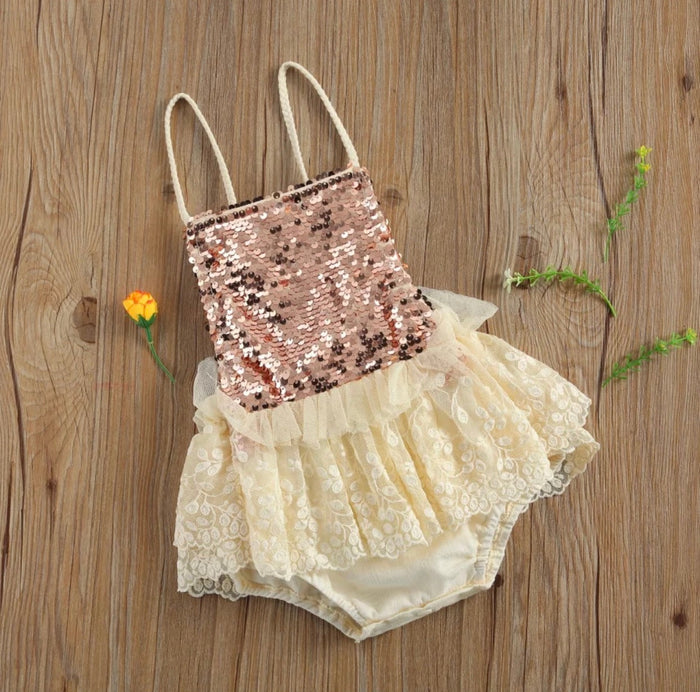 Adeline Vintage Rose Fold Sequin Romper Birthday Outfit