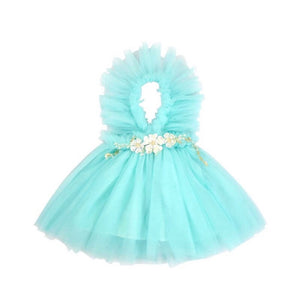 Kryssi Kouture Girls Ruffled Tulle Aqua Swan Dress