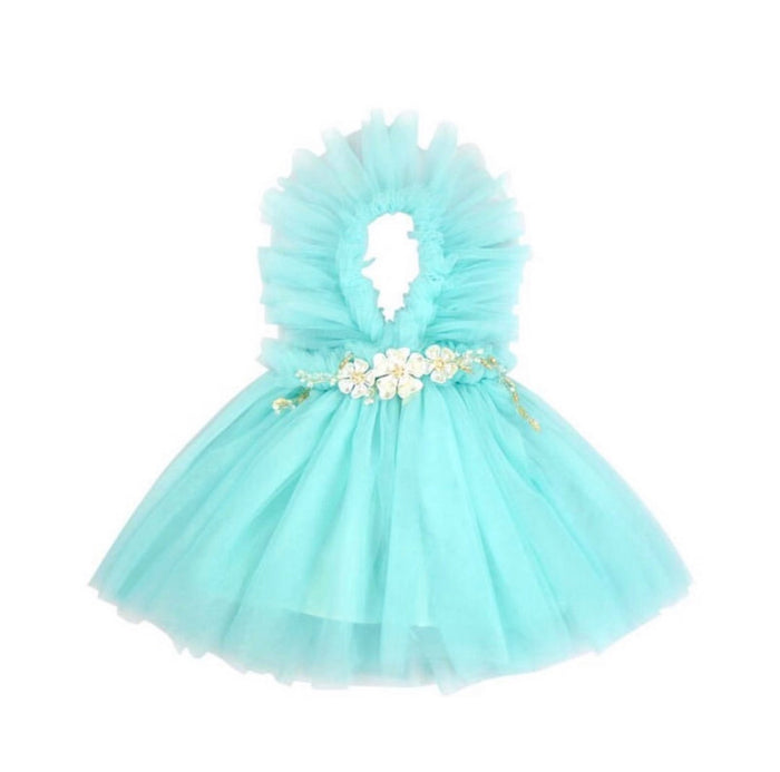 NEWEST EDITION-  Kryssi Kouture Girls Ruffled Tulle Aqua Swan Dress