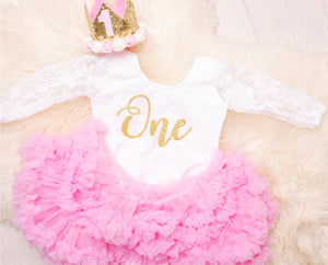 First Birthday White Long Sleeve Lace Leo Sets with  Gold One