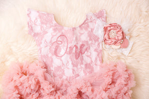 Kryssi Kouture First Birthday Dusty Rose Short Sleeve Lace Leo Sets with Rose Gold One