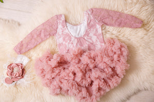 Kryssi Kouture First Birthday Dusty Rose Long Sleeve Lace Leo Sets with Rose Gold One