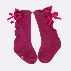 Burgundy Ruffle Bow Socks