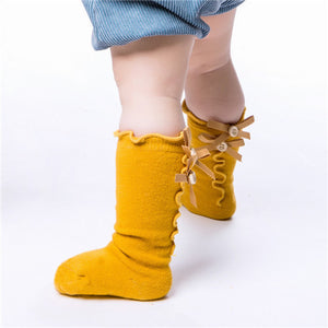 Amber Yellow Ruffle Bow Socks