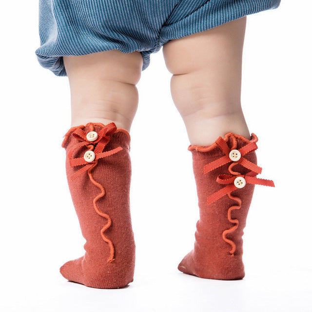 Rust Red Ruffle Bow Socks