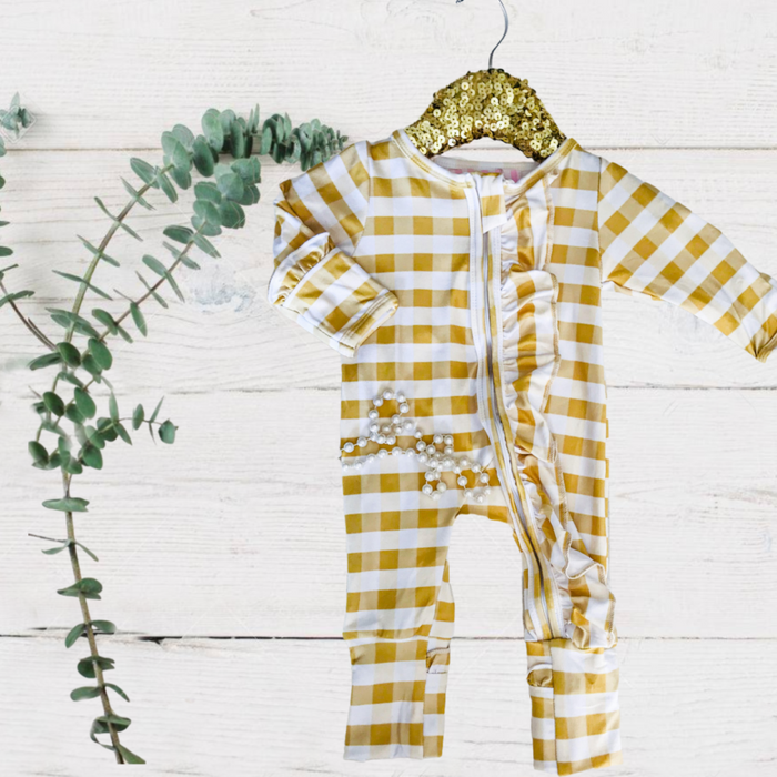 Sadie Mustard Check RuffleZippie Jumpsuit/Sleeper