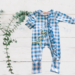 Country Blue Checker Ruffle Jumpsuit/Sleeper