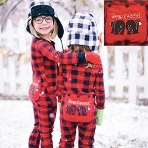 Lazy One Kids Buffalo Plaid BEAR CHEEKS Flapjack Matching Christmas Pj's - Ruffles & Bowties Bowtique - Family Jammies Holiday Matching Pajamas Christmas Family PJS