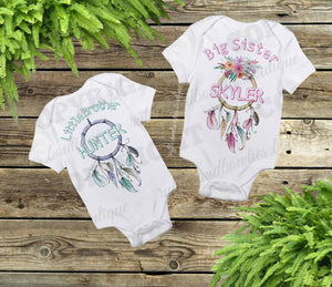 Big sister, little brother Boho Dream Catcher Shirt/Onesie, New Brother, pregnancy announcement, sibling