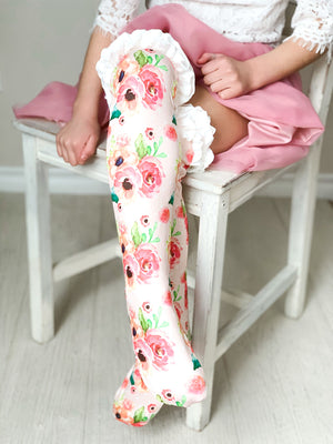 Girls Ruffle Knee High Socks / Peach Floral