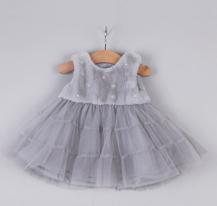 Kryssi Kouture Girls Snow bunny Grey Faux Fur Pearl Bedecked Tulle Dress
