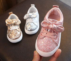 Girls Sparkle Velcro Runners