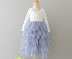 Veronica Soft White Eyelash Long Sleeve Lace with a Country Blue Long Tutu Skirt - Princess Dress