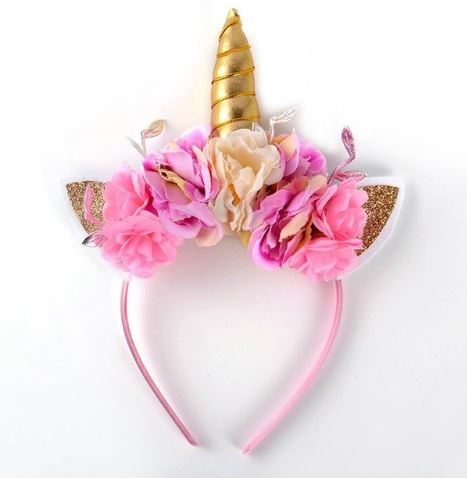 Pink Whimiscal Rose Unicorn Headband