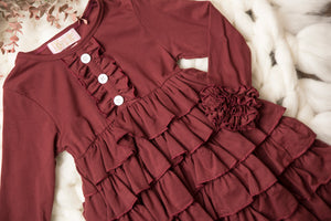 Amber Burgundy Ruffle Long Sleeve Tunic Dress