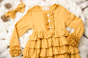Amber Mustard Ruffle Long Sleeve Tunic Dress