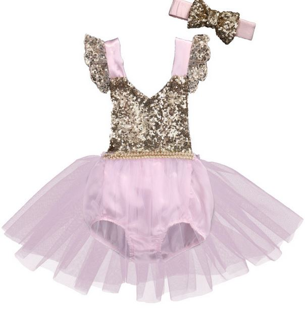 Girls Pink & Gold Princess First Birthday Tutu Romper
