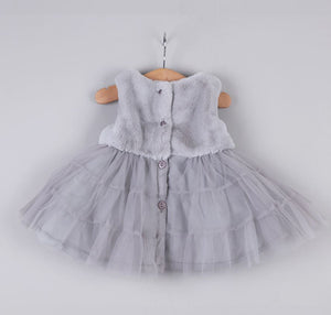 Baby Girl Tutu Dress with Faux Fur & Pearls, Girls Grey Winter Dress