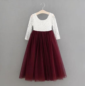 BURGUNDY -  Veronica Soft White Eyelash Lace with Straight Skirt