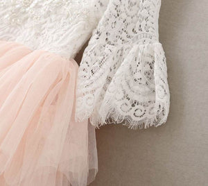 Kryssi Kouture Veronica Soft White Eyelash 3/4 Sleeve Lace with a Peach Short Tutu Skirt - Princess Dress