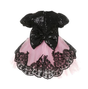 Black & Pink Lace Dress
