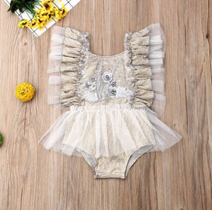 Vintage Gold First Birthday Embroidered Tutu Romper