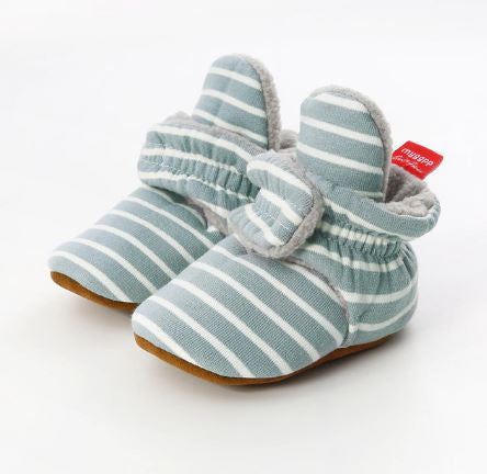 Dusty Blue Stripe Cotton Non Slip Cozy Sock Shoes