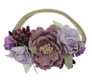 Girls Plum Floral Cluster Nylon Headband